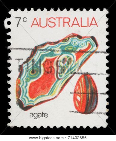 AUSTRALIA - CIRCA 1973: A stamp printed in Australia shows agate, series, circa 1973