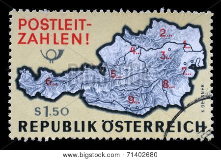 AUSTRIA - CIRCA 1976: a stamp printed in the Austria shows Map of Austria with Postal Zone Numbers, Introduction of Postal Zone Numbers, circa 1976
