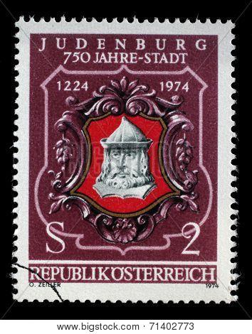 AUSTRIA - CIRCA 1974: stamp printed by Austria, shows Seal of Judenburg, circa 1974