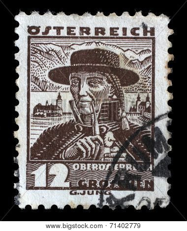 AUSTRIA - CIRCA 1934: A stamp printed by AUSTRIA shows Man from Upper Austria (Oberosterreich), Traditional folk costume, circa 1934.