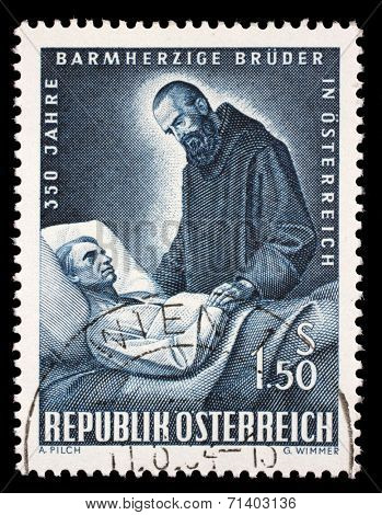 AUSTRIA - CIRCA 1964: stamp printed by Austria, shows Brother of Mercy and Patient, circa 1964