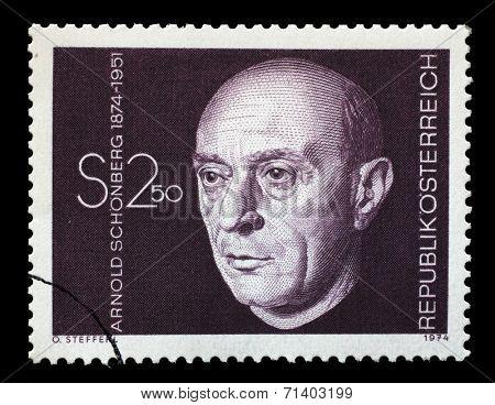 AUSTRIA - CIRCA 1974: A stamp printed in Austria shows Arnold Schonberg, composer, circa 1974