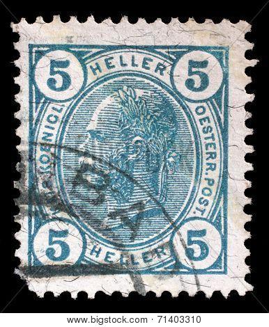 AUSTRIA - CIRCA 1907: stamp printed by Austria, shows Emperor Franz Joseph, circa 1907