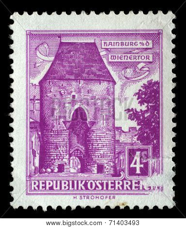 AUSTRIA - CIRCA 1960: a stamp printed in the Austria shows Vienna Gate, Hainburg, circa 1960