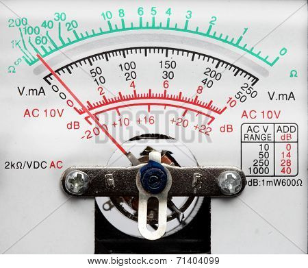 Pointer Voltmeter Close Up
