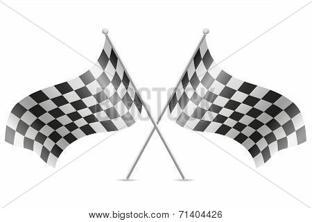 Checkered Flags For Car Racing Vector Illustration