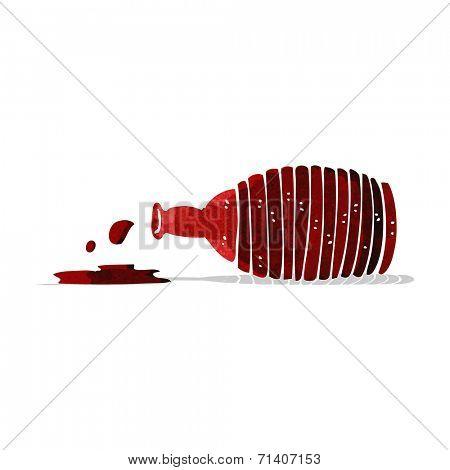 cartoon spilled wine bottle