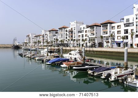 AGADIR, MOROCCO - AUGUST 27: View of the luxurious Marina district on 27 August 2014 in Agadir, Morocco.