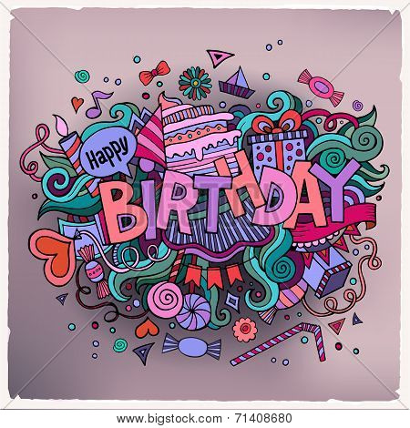 Birthday hand lettering and doodles elements background