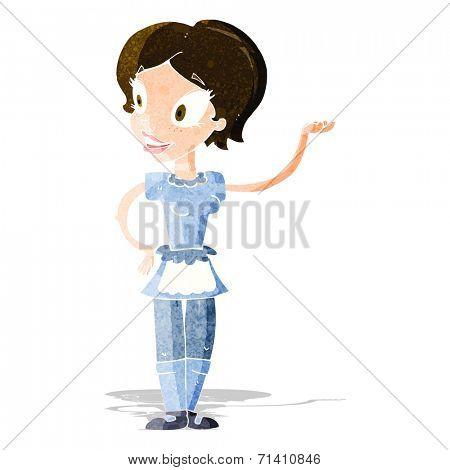 cartoon woman in maid costume