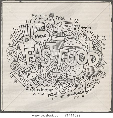 Fast food hand lettering and doodles elements background.