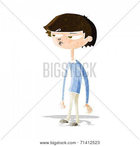 cartoon suspicious boy
