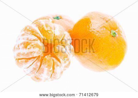 Peeled Mandarin Tangerine Orange Fruit Isolated On White Background