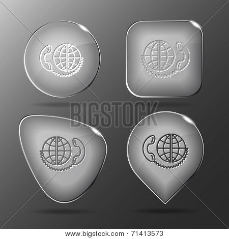 Global communication. Glass buttons. Raster illustration.