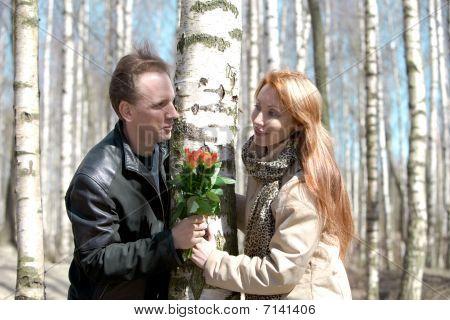 Man Prepared Bouquet In Gift Woman