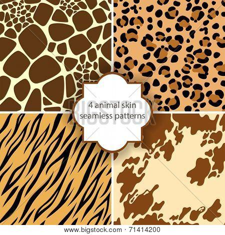 4 animal skin seamless patterns