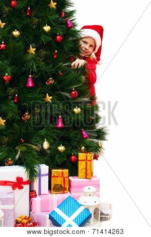 Child In A Christmas Red Dress Peeking Out From Behind The Christmas Tree