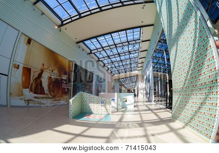 Samara, Russia - August 30, 2014: Inside Of The Samara Hypermarket Ambar.  The One Of Largest Shoppi