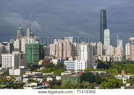 skyline in guangzhou guangdong china.