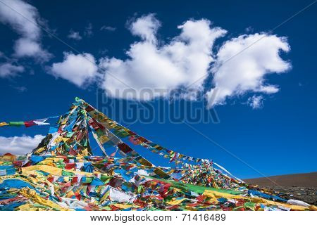 Buddhist Script Flag, landscape in tibet china.