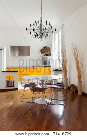 Nice apartment, interior, comfortable dining room, parquet floor