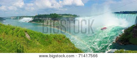 Panoramic view of Niagara falls, American, Bridal Veil and Horseshoe Falls from Canada.