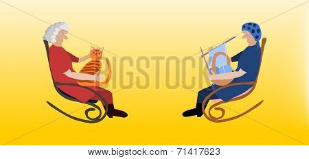Two elderly women in rocking chairs