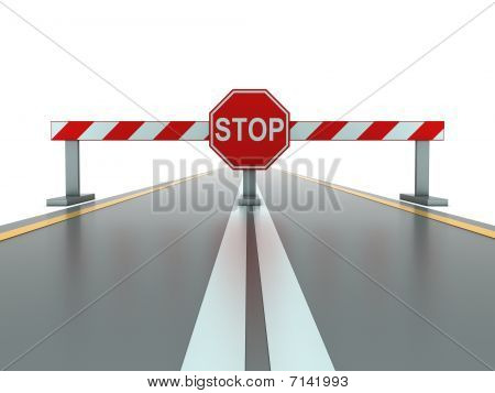 Closed Road With Stop Sign