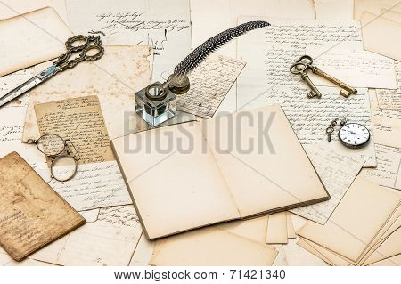 Old Letters And Postcards, Vintage Accessories And Handwriting