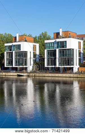 New residential houses at the water