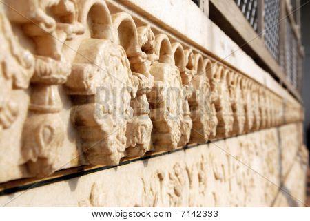 alten Marmor Bas Relief Zierde des Taj Mahal, agra