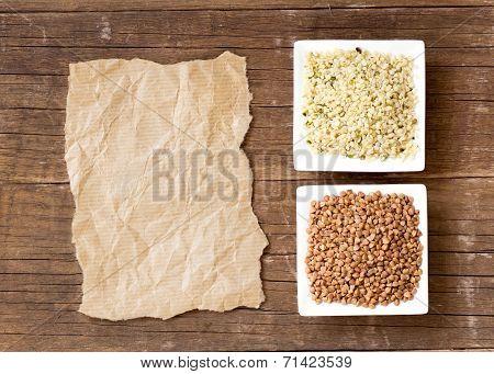 Buckwheat, Hemp Seeds And Paper