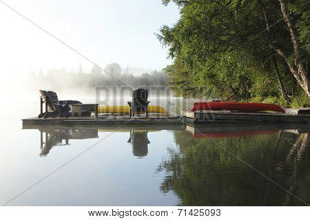 Dock On A Misty Lake