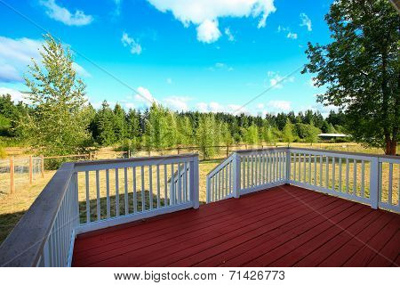 Beautiful Countryside Landscape From House Walkout Deck.