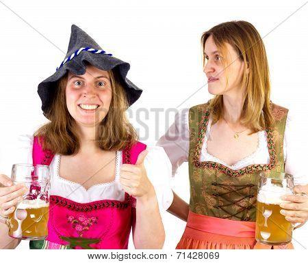 Girl In Dirndl Wearing Seppelhut Showing Thumb Up