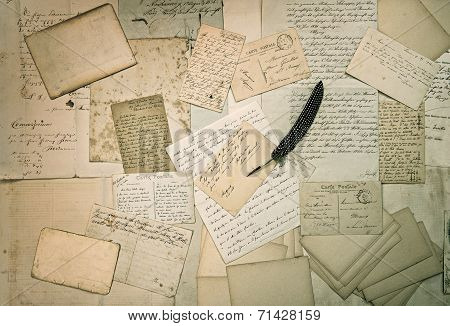 Ephemera. Old Letters, Handwritings, Vintage Postcards