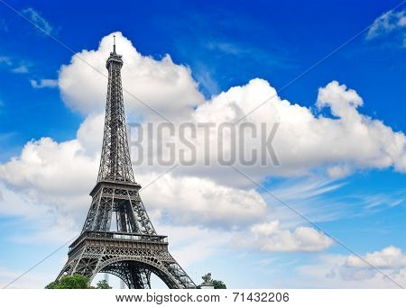 Eiffel Tower Against Cloudy Blue Sky