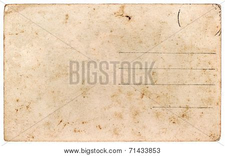 Old Postcard. Blank Paper Sheet Isolated On White