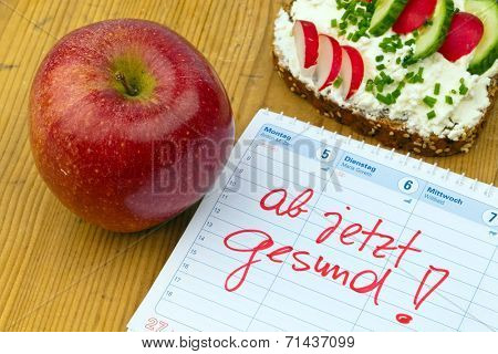 apple, tape measure, bread with vegetables and a calendar. good resolution for healthy diet