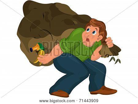 Cartoon Man In Green Top Carries Huge Garbage Bag
