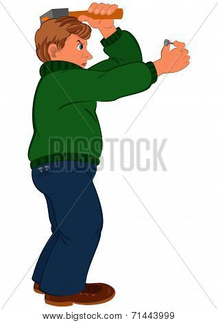 Cartoon Man With Brown Hair In Green Sweater With Hummer