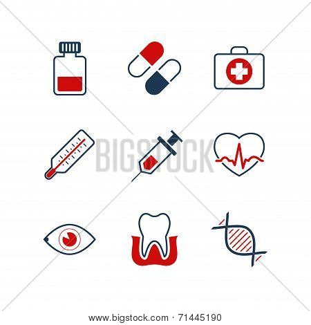 Medicine simple vector icon set