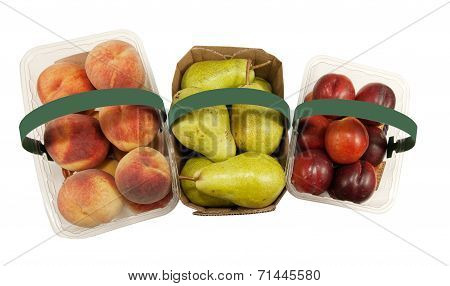 Baskets full of fresh Peaches, Pears and Nectarines