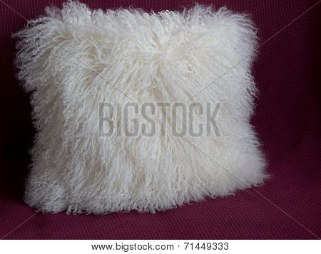 Fluffy White Throw Pillow