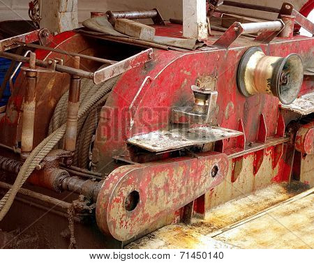 Old Winch On A Fishing Boat