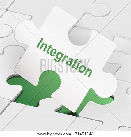 Integration Word On White Puzzle Pieces