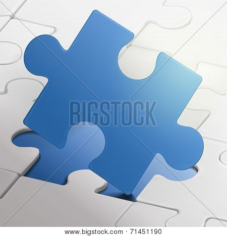 Blank Blue Puzzle Piece Isolated On White Puzzles