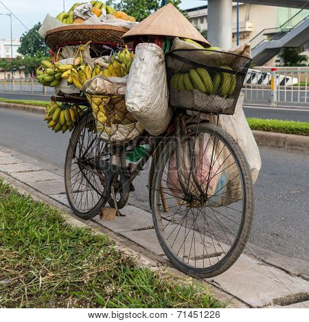 Banana street vendor, Southeast Asia, Indochina