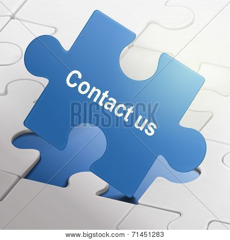 Contact Us Word On Blue Puzzle Pieces