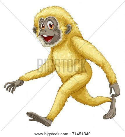 Illustration of a yellow gorilla on a white background